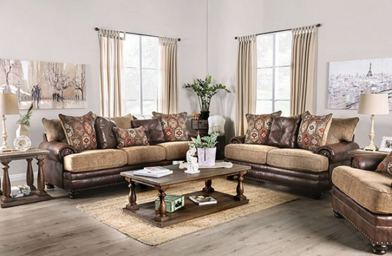 Fletcher Living Room Set in Brown