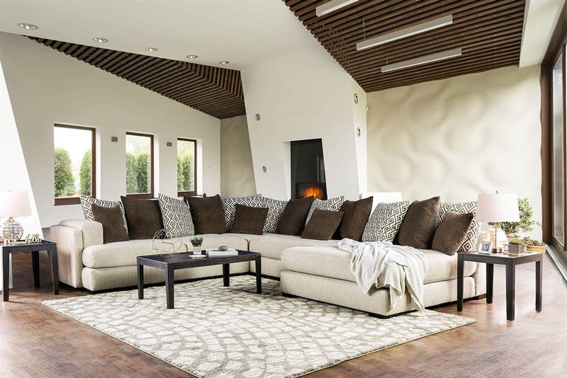 Giulianna Sectional Sofa in Cream and Brown