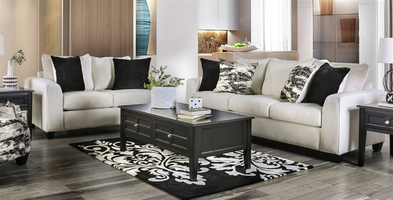 Barnett Living Room Set in Ivory