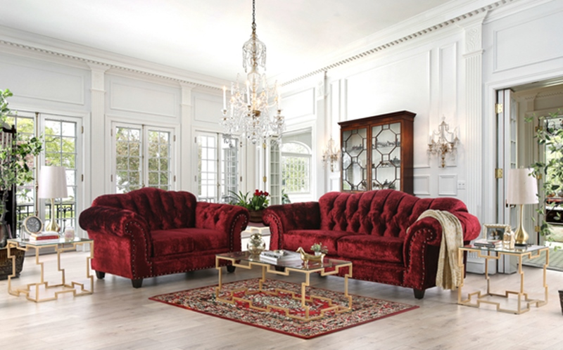 Gelligaer Living Room Set in Wine