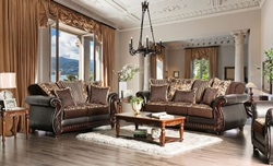 Franklin Living Room Set in Brown