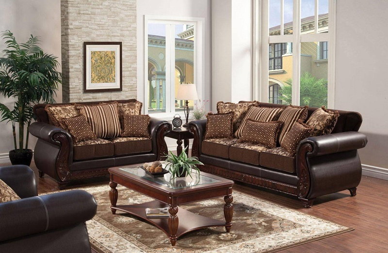 Franklin Living Room Set in Dark Brown