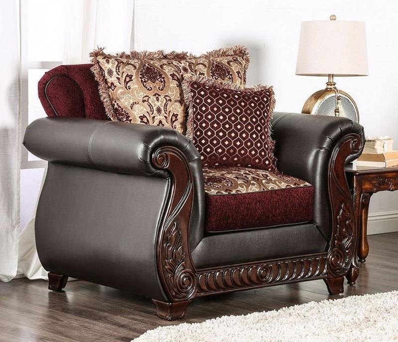 Furniture of America | SM6107 Franklin Living Room Set in Burgundy | Dallas  Designer Furniture