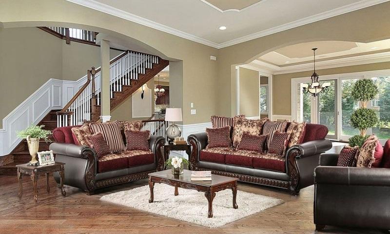 Franklin Living Room Set in Burgundy