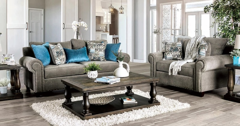 Mott Living Room Set in Gray