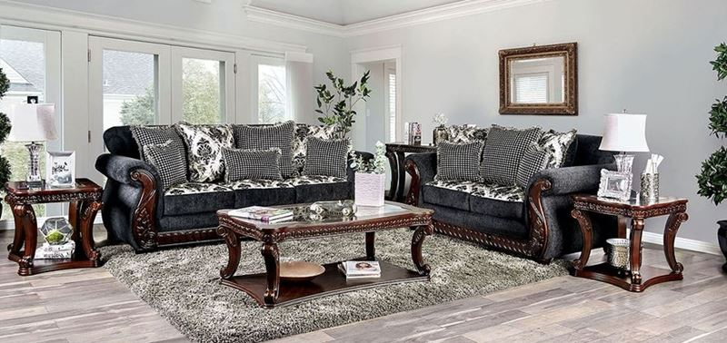Whitland Dark Grey Chenille Sofa Set
