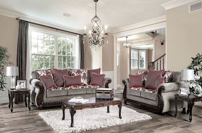 Whitland Grey & Red Chenille Sofa Set
