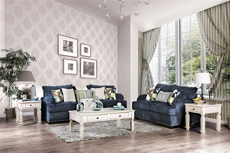 Jayda Living Room Set Navy