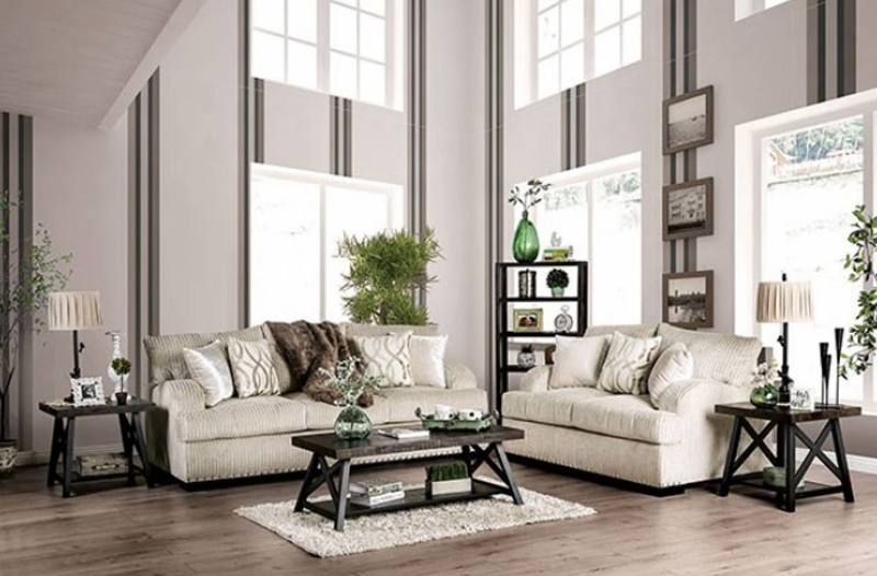 Zayla Living Room Set in Golden Ivory
