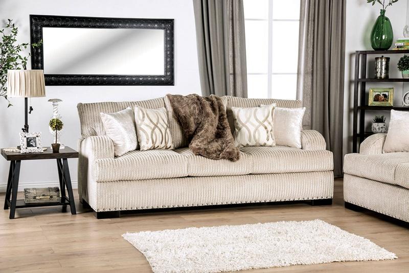 Zayla Living Room Set in Golden Ivory