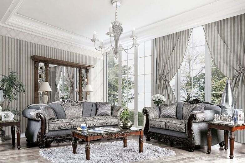 Newdale Formal Sofa Set in Gray Chenille