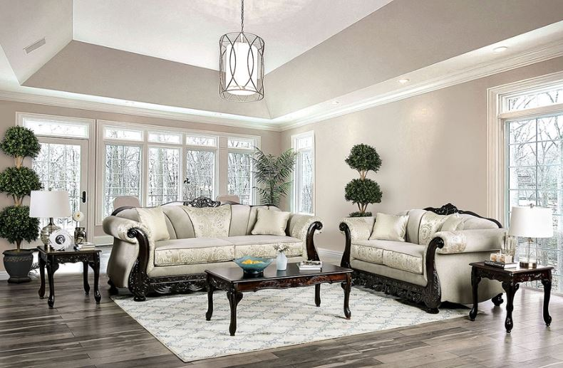 Newdale Formal Sofa Set in Ivory Chenille