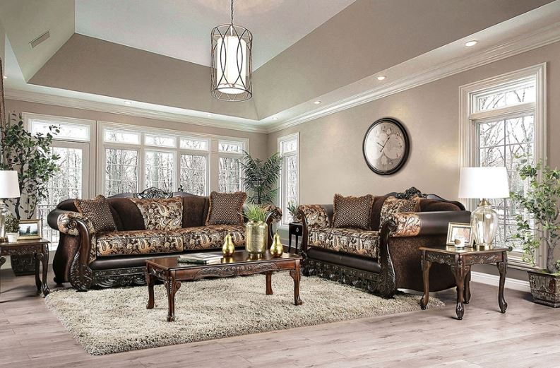 Newdale Formal Sofa Set in Brown with Gold