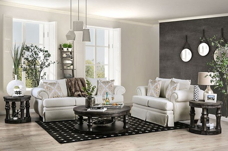 Bergen Living Room Set in Ivory