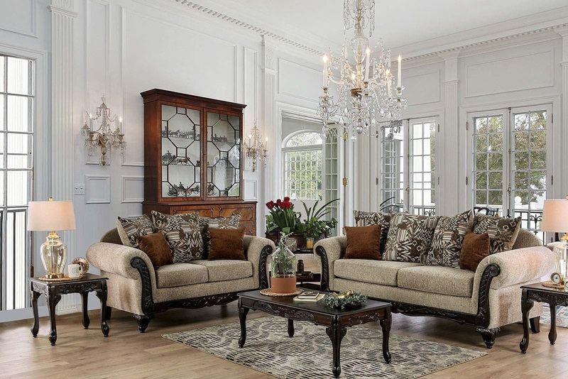 SM7644 Saoirse Tan Sofa Set | Furniture of America | Free Delivery