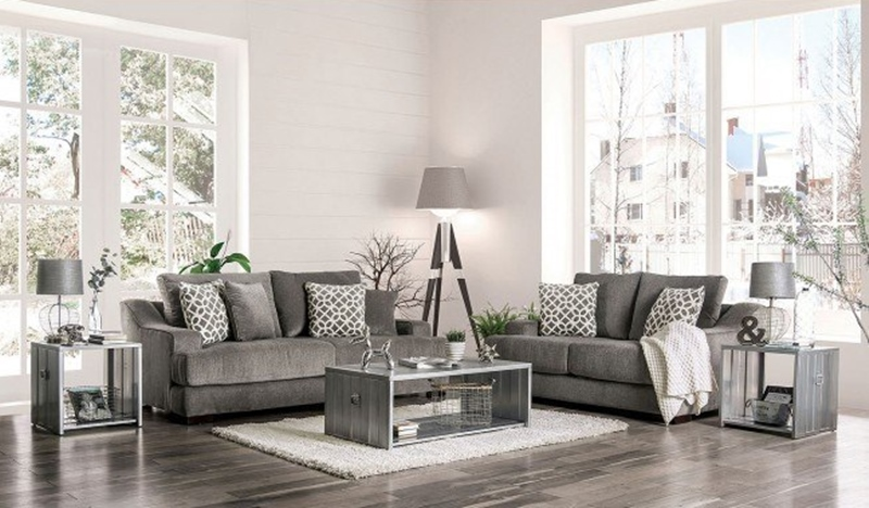Adrian Living Room Set in Gray