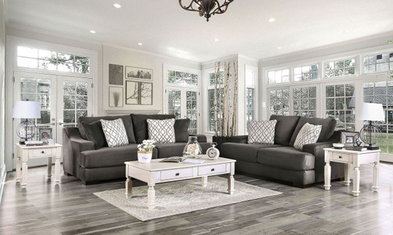 Adrian Living Room Set in Charcoal