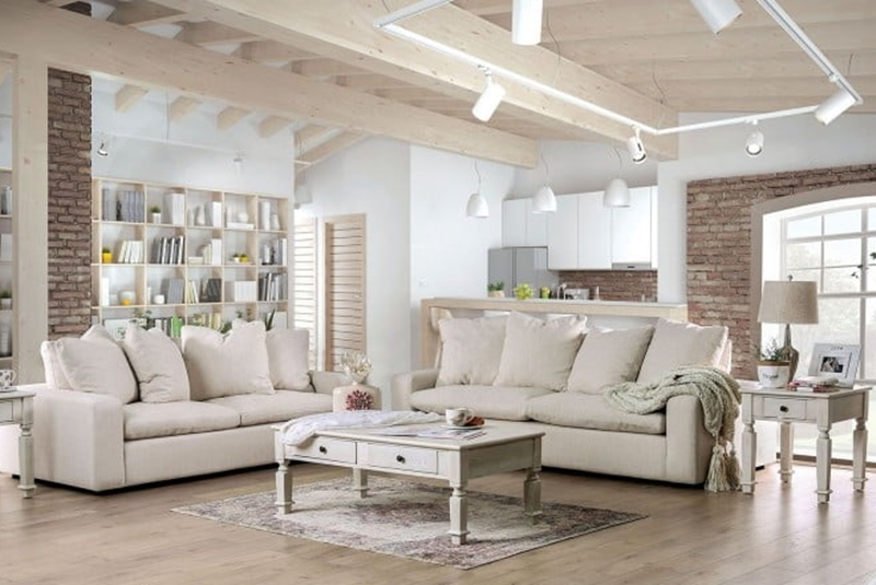 Acamar Living Room Set in Cream