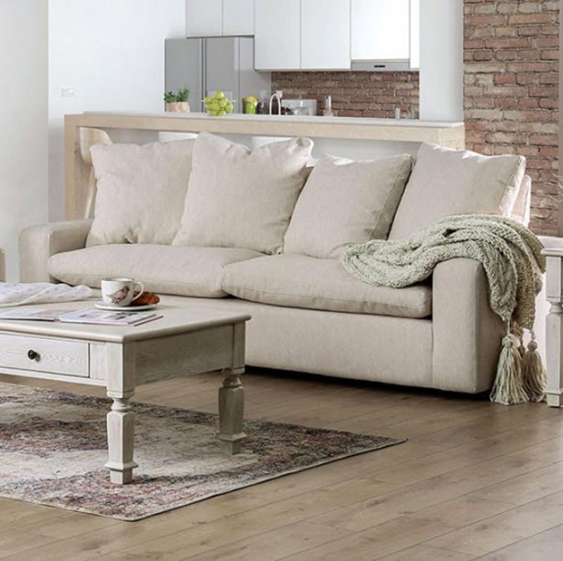 Acamar Living Room Set in Cream