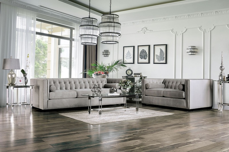 Elliot Living Room Set in Light Gray