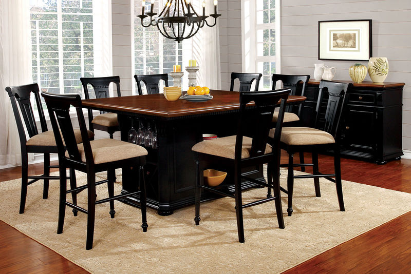 Sabrina Counter Height Dining Room Set in Black