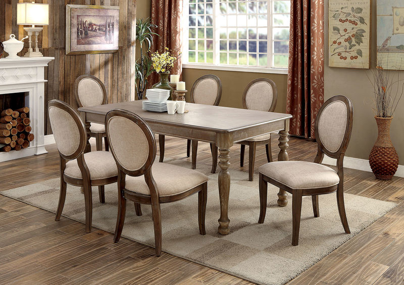 Siobhan II Formal Dining Room Set in Rustic Oak