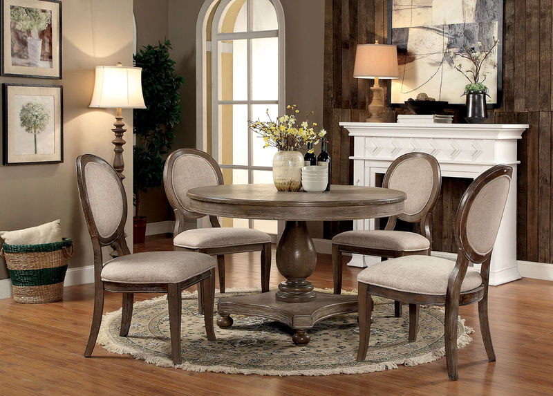 Kathryn Formal Dining Room Set with Round Table in Rustic Oak