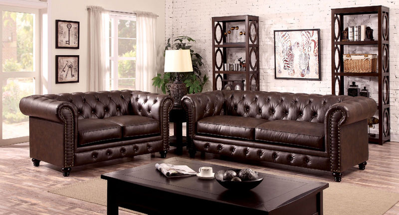 Stanford Living Room Set in Brown