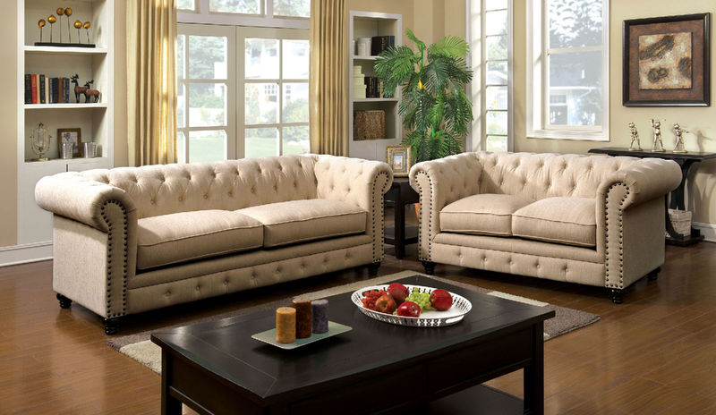 Stanford Living Room Set in Ivory