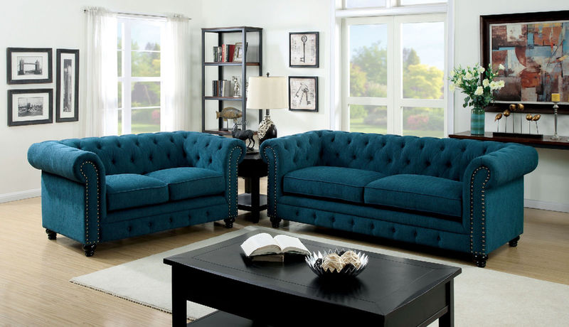 Stanford Living Room Set in Teal