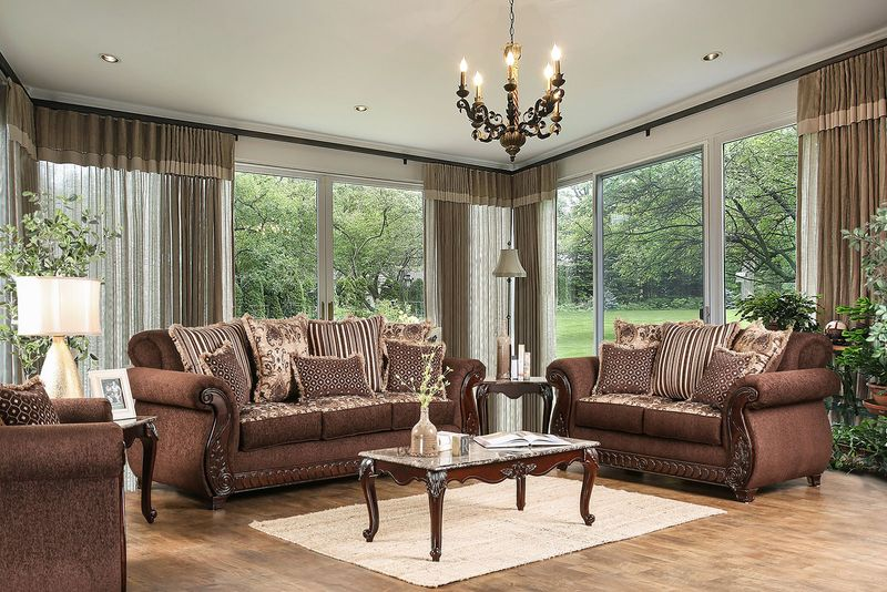 Tabitha Formal Living Room Set in Brown