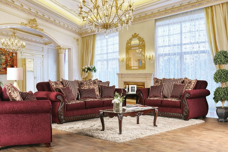 Tabitha Formal Living Room Set in Wine