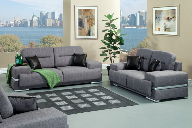 Thessaly Living Room Set in Gray