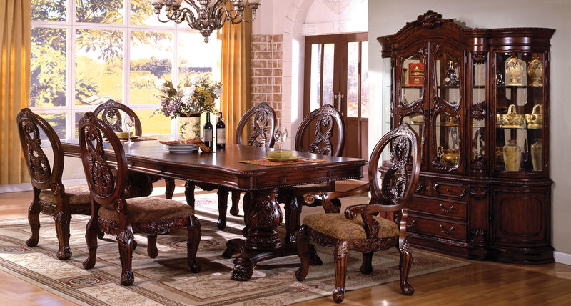 #CM3845P CH T Tuscany Formal Dining Room Set In Cherry With Pedestal Table