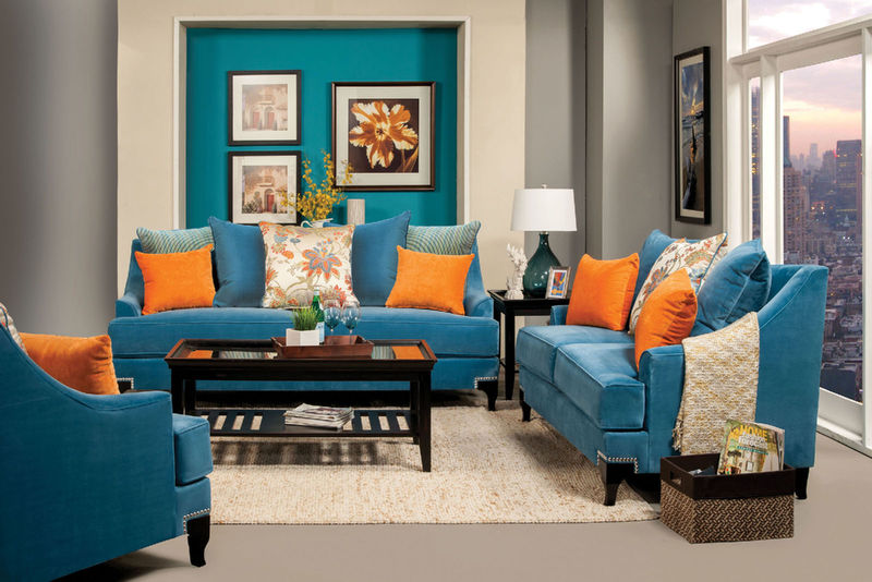 Viscontti Living Room Set in Blue