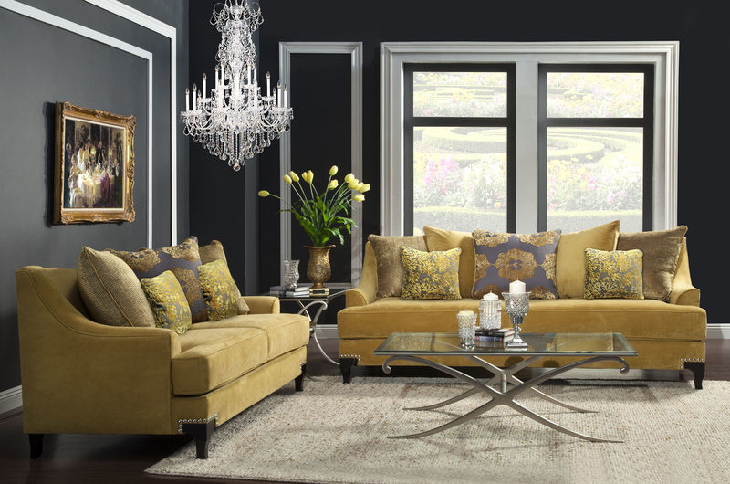 Viscontti Living Room Set In Gold ...