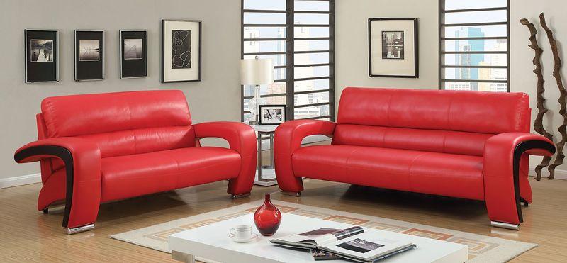Wezen Living Room Set in Red