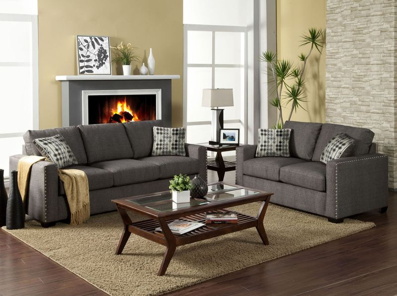 Wolver Living Room Set in Charcoal