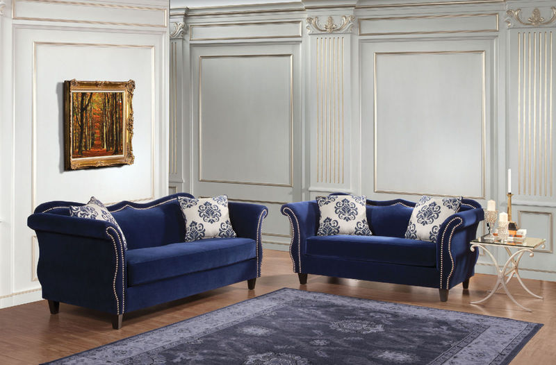 Zaffiro Living Room Set in Blue