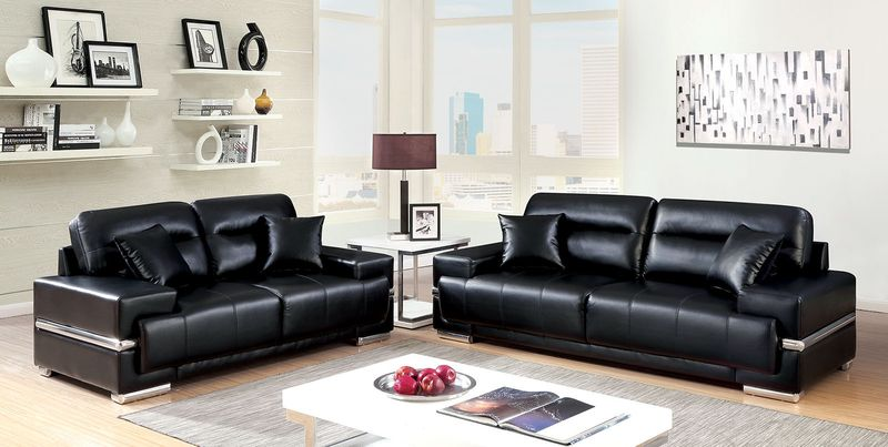 Zibak Living Room Set in Black