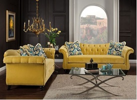 Antoinette Living Room Set In Royal Yellow