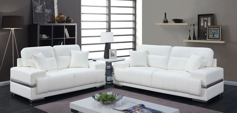 Zibak Living Room Set in White