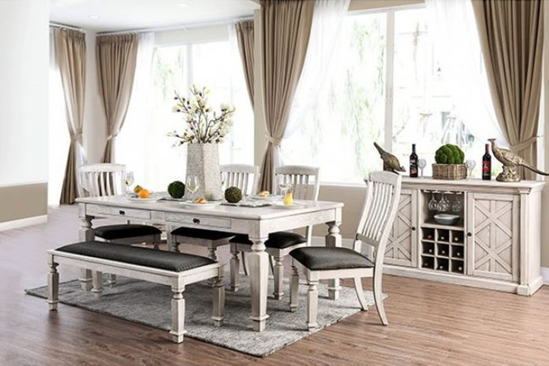 Georgia Rustic Dining Room Set with Bench Seat