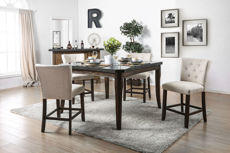 Schoten Counter Height Dining Room Set with Ivory Chairs