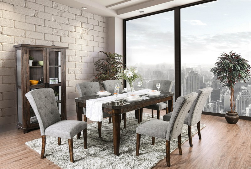 Schoten Celestite Table Dining Room Set with Gray Chairs