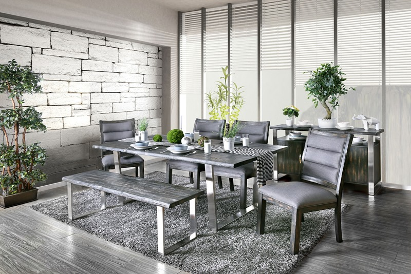 Mandy Formal Dining Room Set in Gray