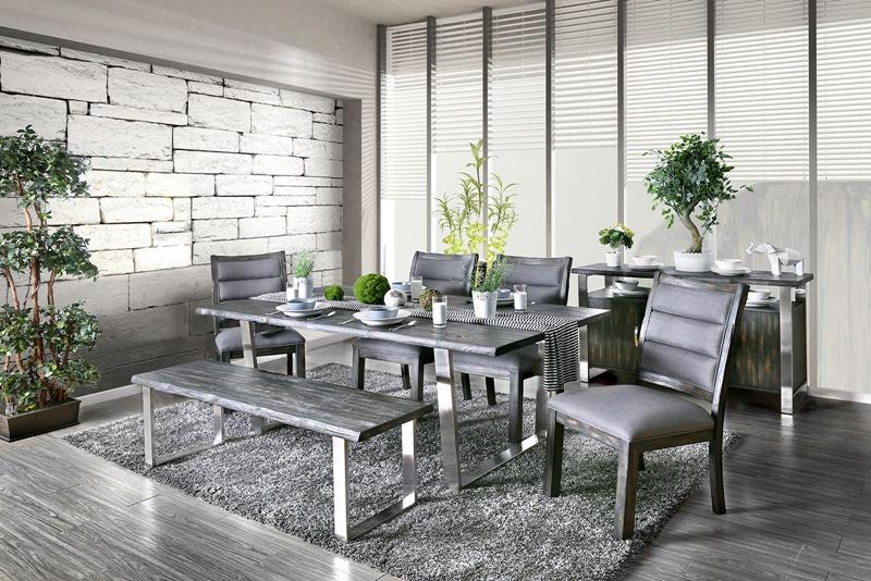 Mandy Formal Dining Room Set in Gray