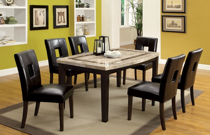 Lisbon I Marble Top Dining Room Set With Oval Table