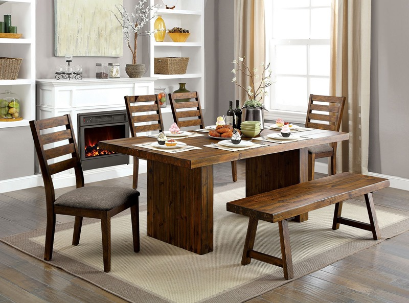 Kirsty Rustic Dining Room Set with Bench