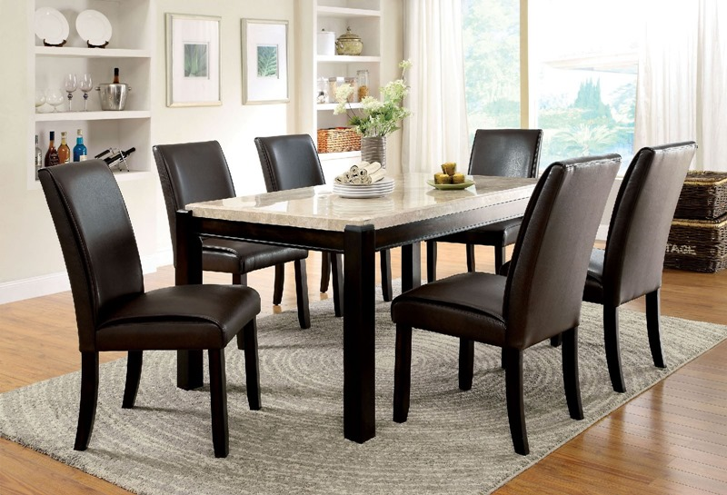Gladstone I Dining Room Set with Ivory Marble Top
